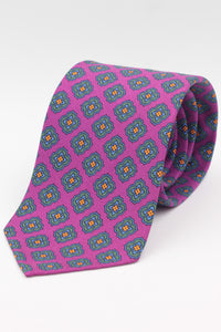 Magenta, green, orange and light blue medallons tie