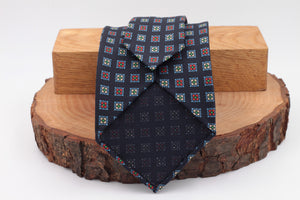Black, Red, Green, White and light blue medallions tie