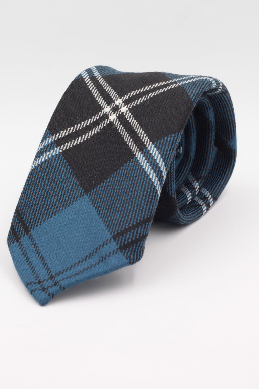 Royal Blue, Black and White tartan tie