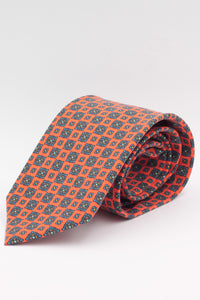 Orange, royal blue, brown and yellow tie