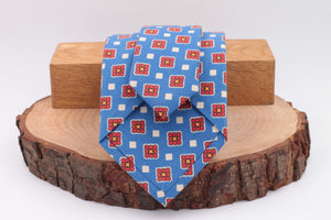 Light Blue, red and white print tie