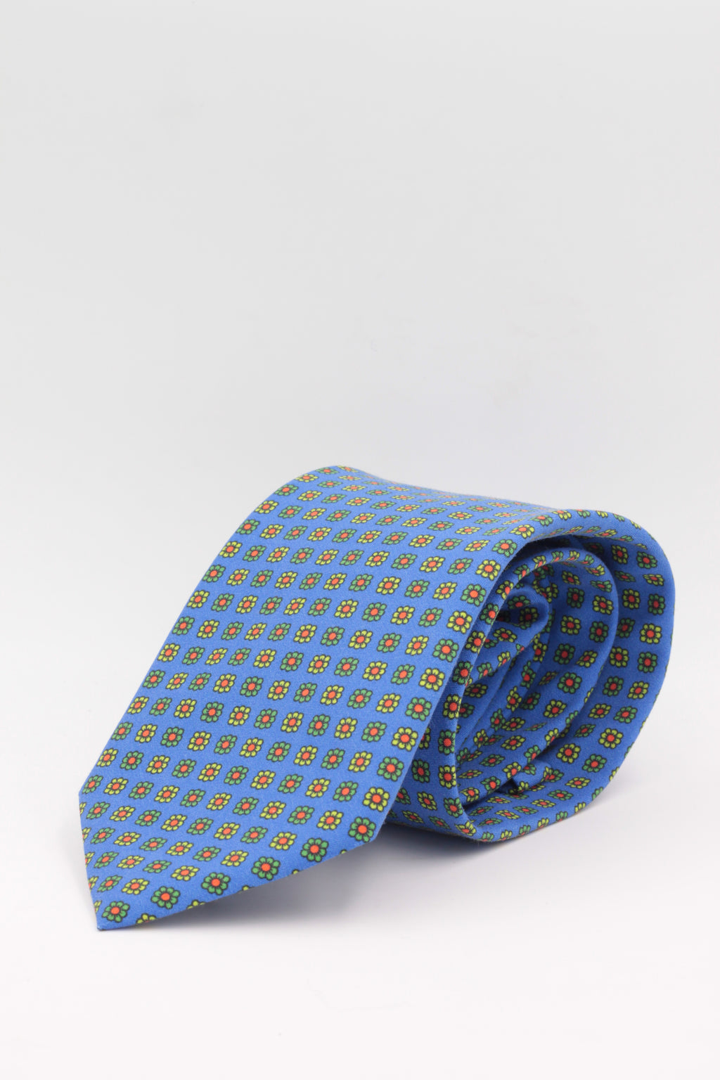 Light blue, yellow and green flower print tie