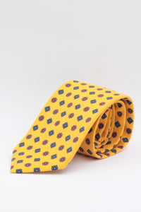Bright yellow, royal blue and purple flower print tie