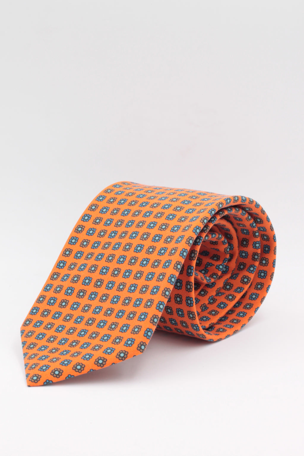 Orange, light blue and brown small flower print tie tie