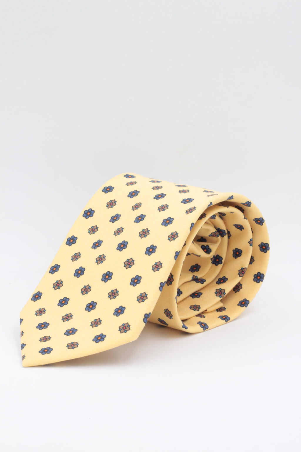 Cruciani & Bella - Printed Madder Silk  - Yellow, brown and royal blue flower print tie