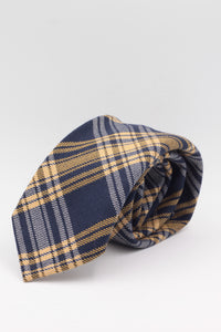 Navy blue, yellow and grey tartan tie