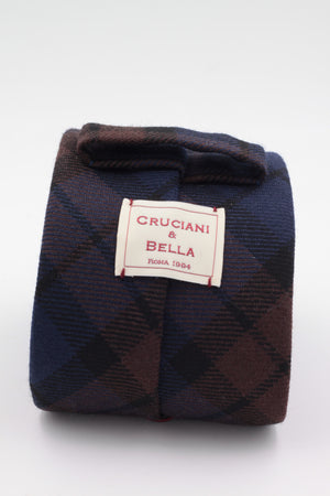 Navy blue, brown and black tartan tie