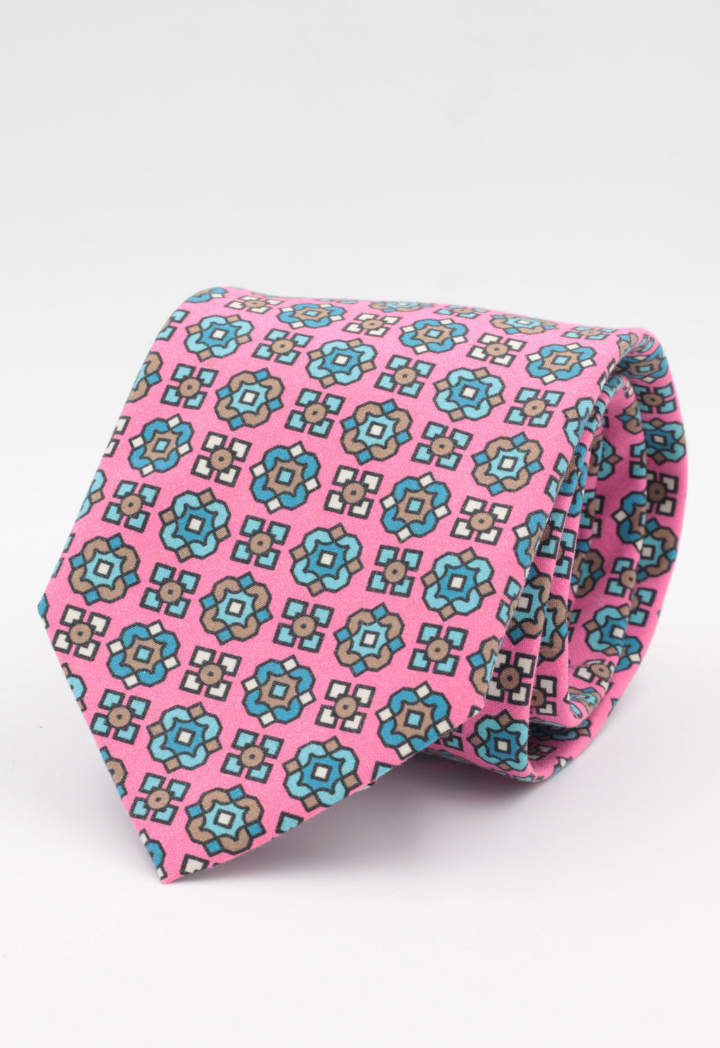 Pink, white, brown and light blue print tie
