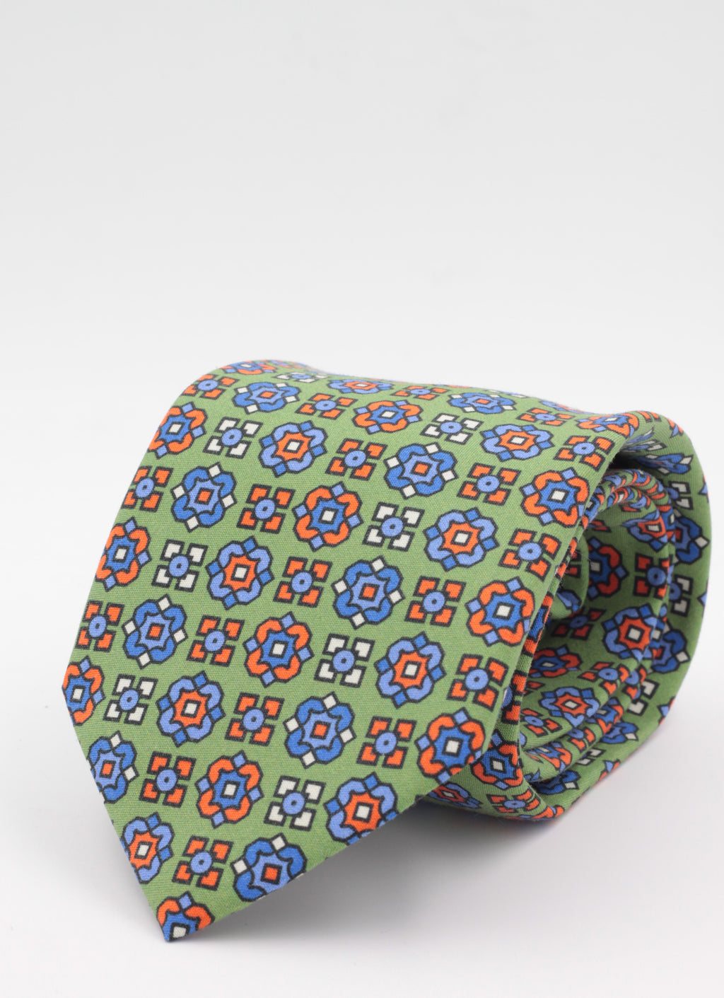 Green, white, orange and light blue print tie