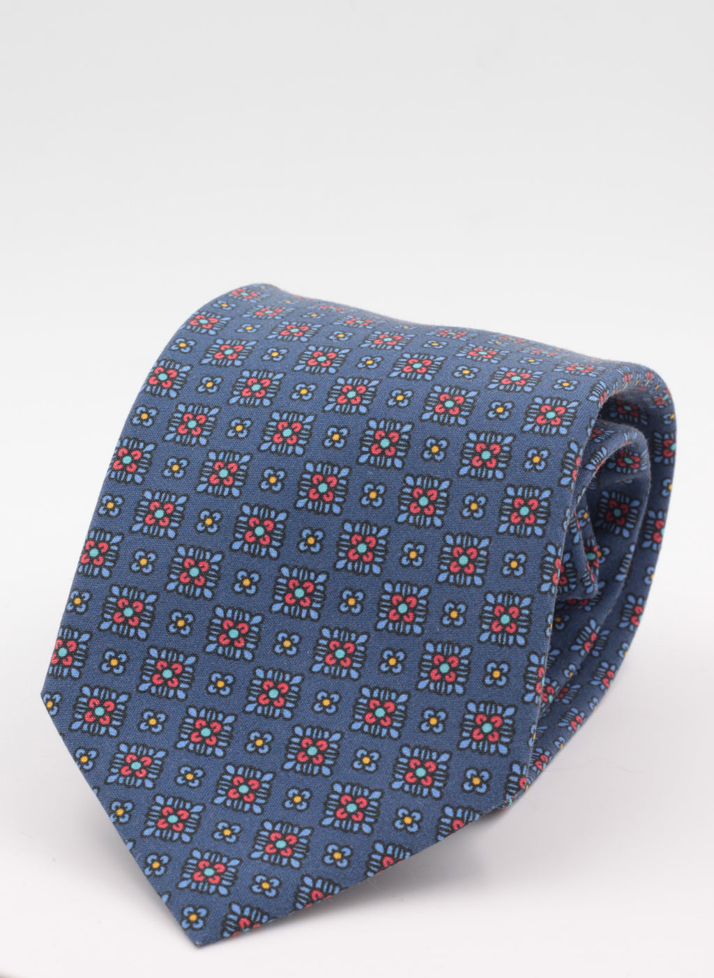 Cruciani & Bella - Printed Madder Silk  - Royal Blue, light blue, red and yellow print tie
