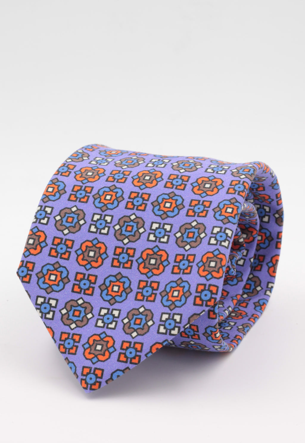 Purple, orange, brown, white and light blue print  tie