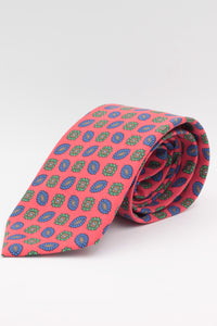 Red, brown, green and navy blue print tie