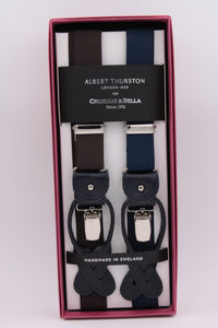 Albert Thurston for Cruciani & Bella Made in England 2 in 1 Adjustable Sizing 25 mm elastic braces Brown and blue navy Leather and clip Y-Shaped Nickel Fittings Size: L