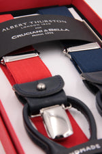 Albert Thurston for Cruciani & Bella Made in England 2 in 1 Adjustable Sizing 25 mm elastic braces Red and blue navy Y-Shaped Nickel Fittings Size: L