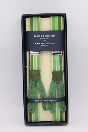 Albert Thurston for Cruciani & Bella Made in England Adjustable Sizing 25 mm elastic braces Green and white multiple color stripes Braid ends Y-Shaped Nickel Fittings Size: L