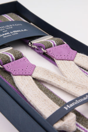 Albert Thurston for Cruciani & Bella Made in England Adjustable Sizing 25 mm elastic braces Grey, pink stripes Braid ends Y-Shaped Nickel Fittings Size: L