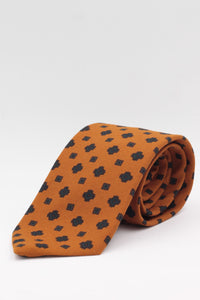 Orange, brown and green geometrical print tie