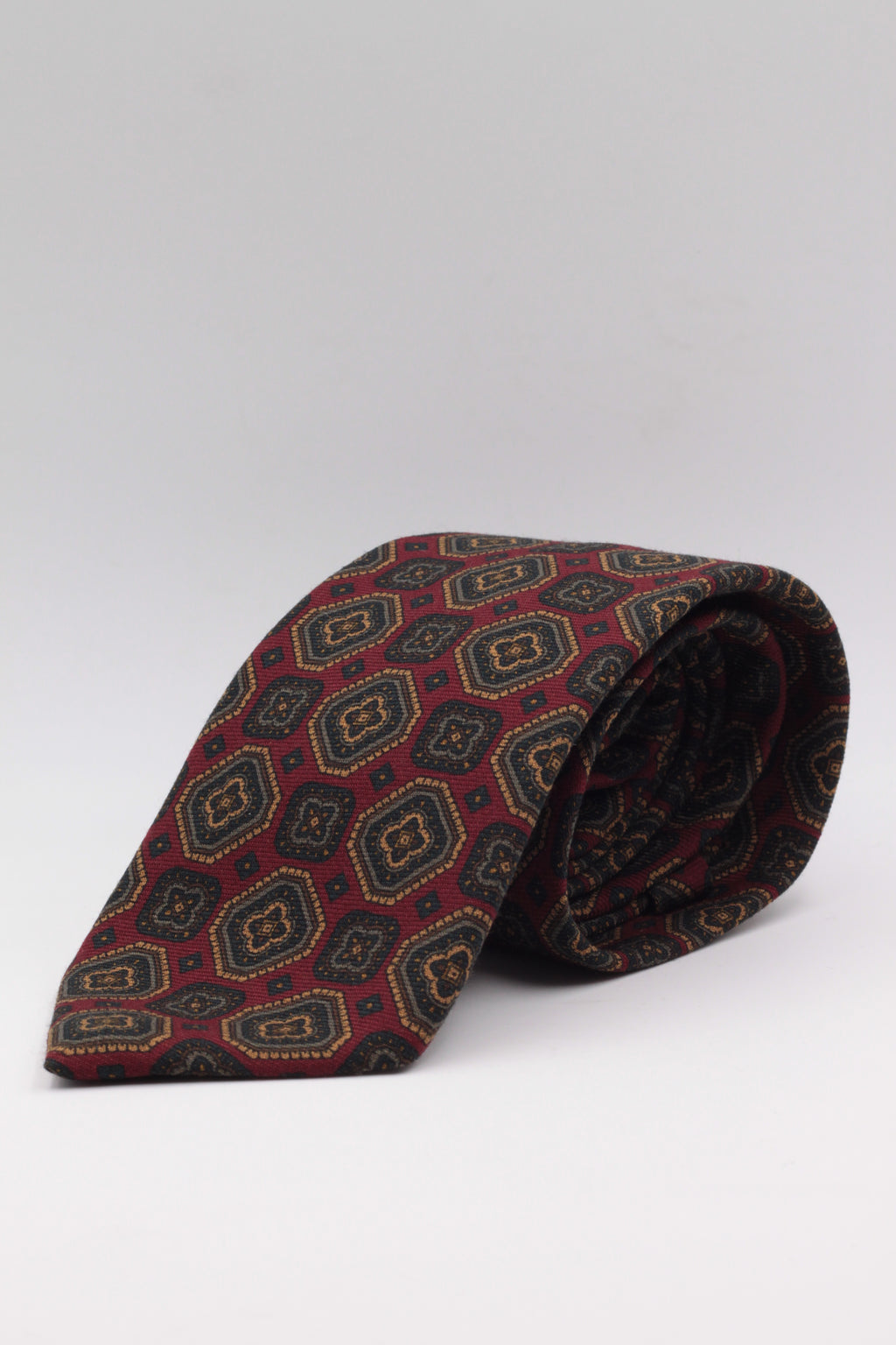 Red Blood, Green and Brown print tie