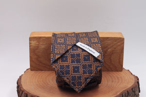Gold end Blue motif tie