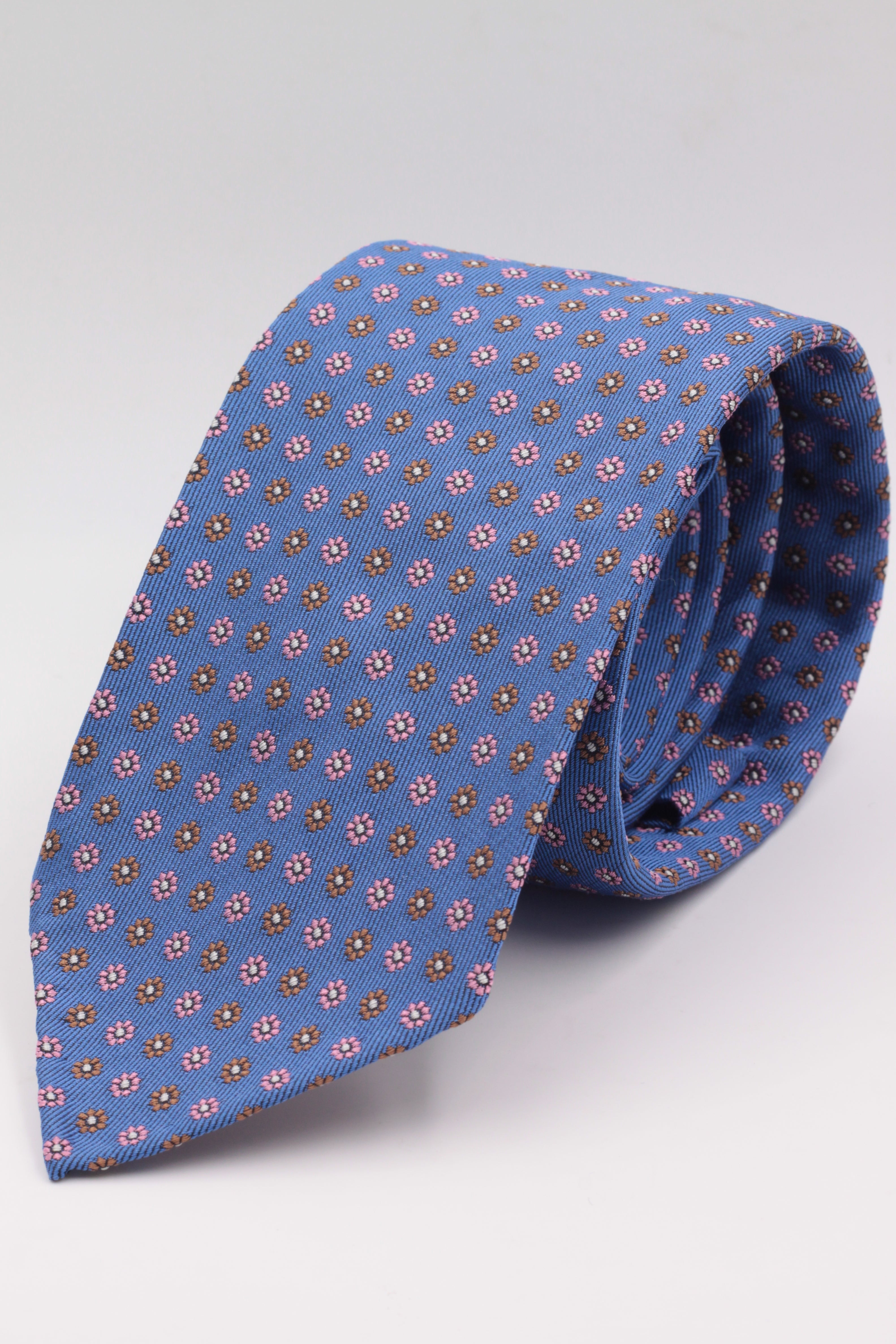 Light blue brown and pink flower tie