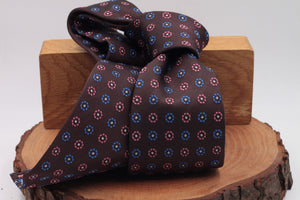 Burgundy, pink and light blue flower motif tie