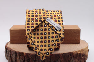 Yellow, white, green and burgundy motif tie
