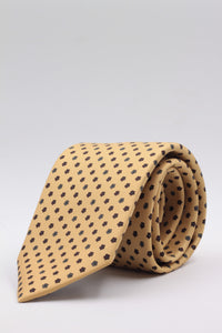 Yellow, burgundy and white daises motif tie