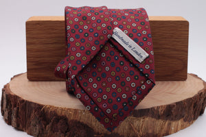 Burgundy, pink, white, blue and green flower motif tie