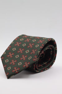 Bottle green, red and cream motif tie