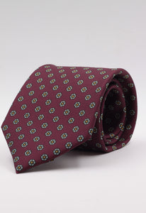 Burgundy with daisies motif tie