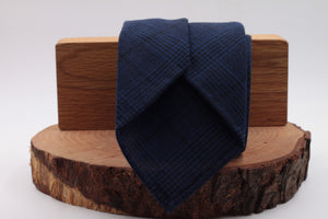 100% Woven Wool Fresco Unlined Hand rolled blades Blue navy and black prince of Wales pattern tie Handmade in Rome, Italy 8 cm x 150 cm