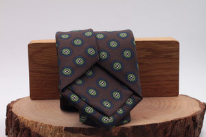 Brown, light green and dark blue medallion tie
