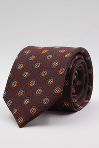 Holliday & Brown for Cruciani & Bella 100% printed Silk Self tipped Burgundy, green and orange medallions tie Handmade in Italy 8 cm x 150 cm