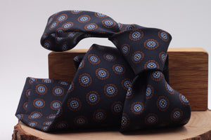 Blue navy, light blue and brown medallions  tie