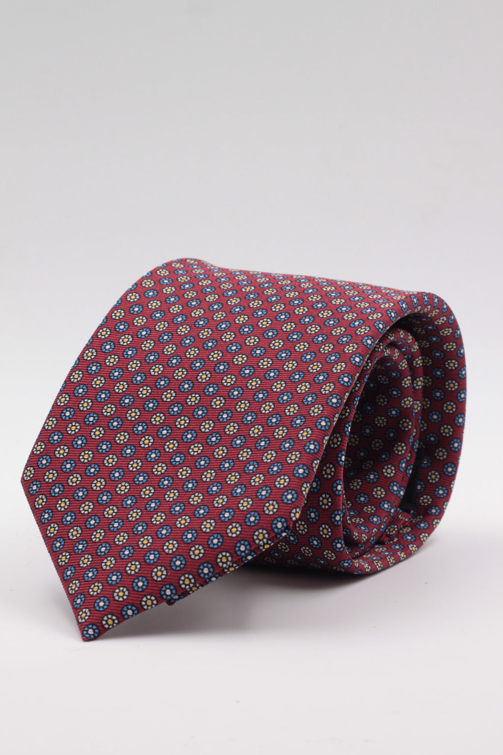 Burgundy, white and turquoise floral motif tie