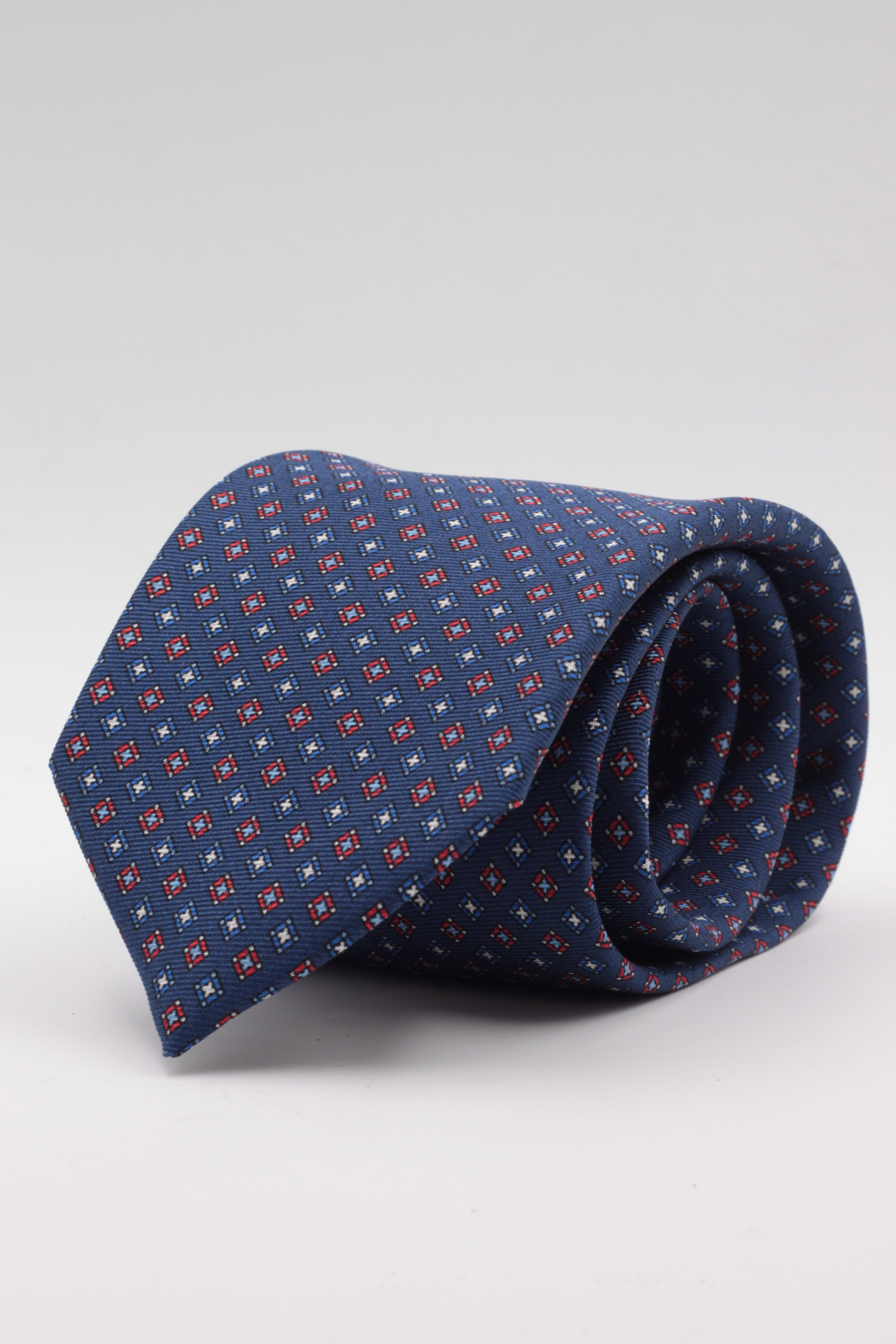Holliday & Brown for Cruciani & Bella 100% printed Silk Self tipped Royal blue, red and olympic blue motif tie Handmade in Italy 8 cm x 150 cm