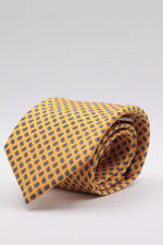 Holliday & Brown for Cruciani & Bella 100% printed Silk Self tipped Yellow, blue and white motif tie Handmade in Italy 8 cm x 150 cm