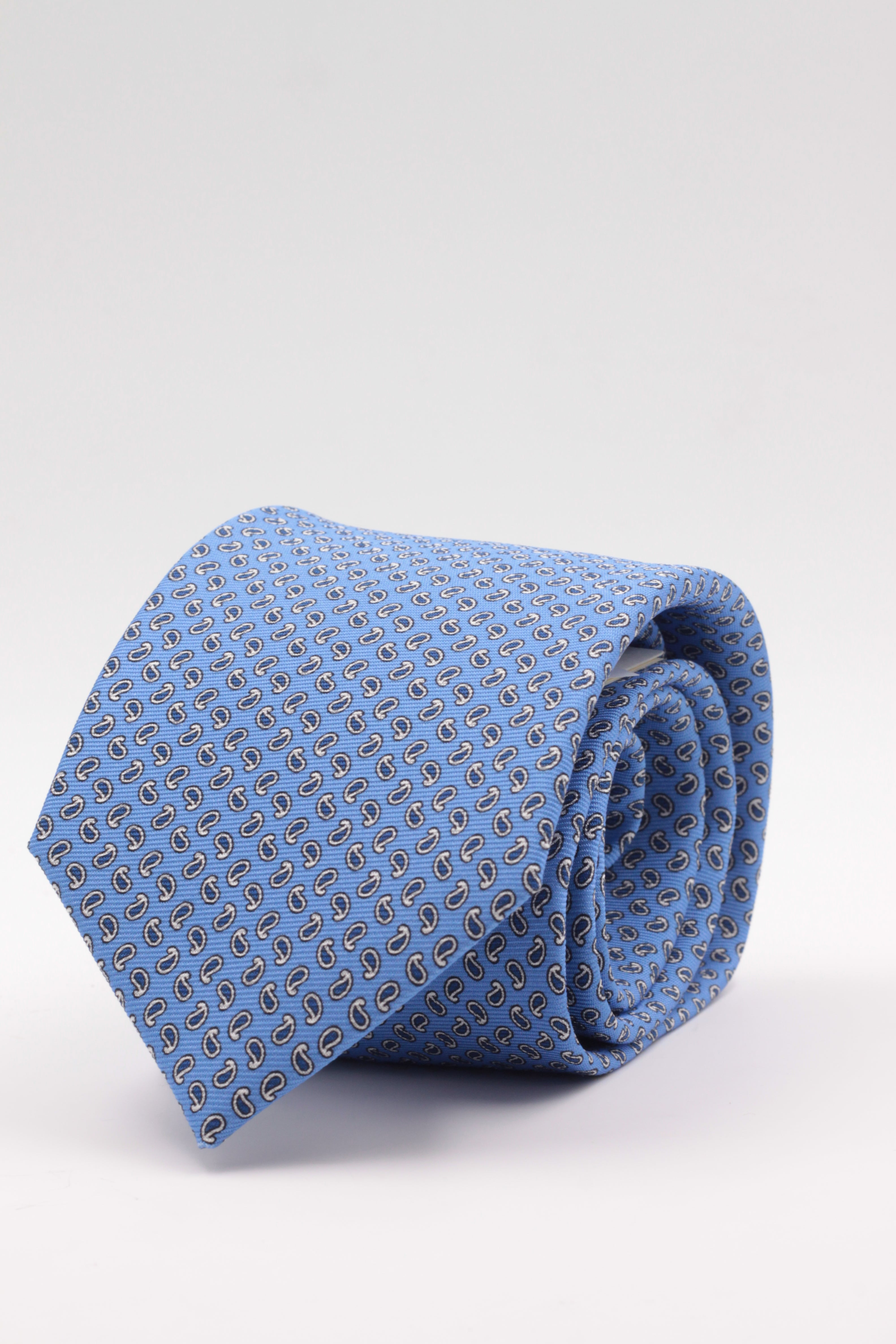 Holliday & Brown for Cruciani & Bella 100% printed Silk Self tipped Light blue, white and blue navy motif tie Handmade in Italy 8 cm x 150 cm