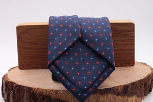 Holliday & Brown for Cruciani & Bella 100% printed Silk Self tipped Blue navy, red and turquoise motif tie Handmade in Italy 8 cm x 150 cm