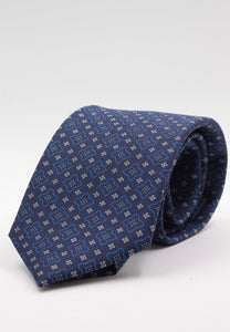 Holliday & Brown for Cruciani & Bella 100% printed Silk Self tipped Blue navy, white and electric blue motif tie Handmade in Italy 8 cm x 150 cm