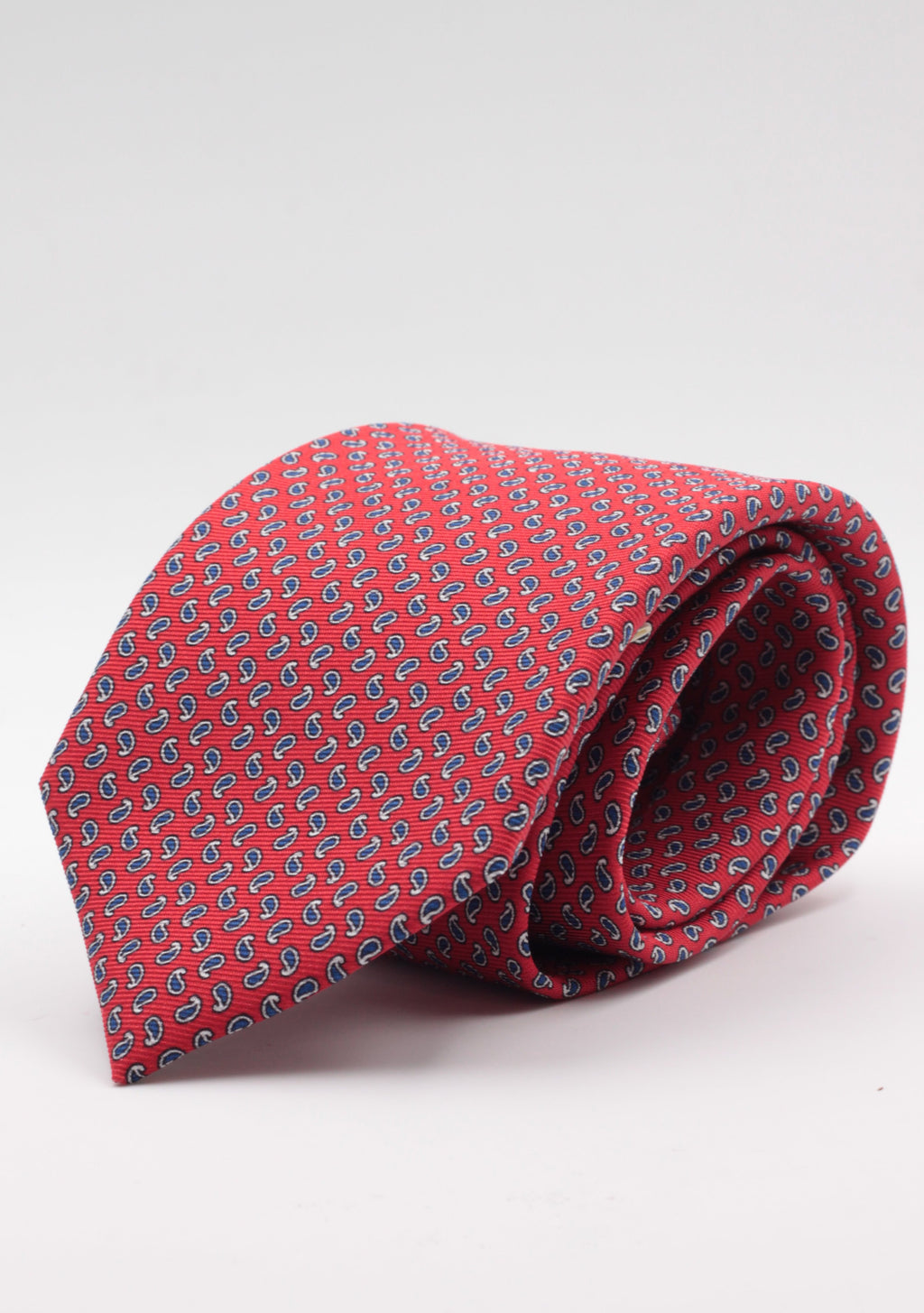 Holliday & Brown for Cruciani & Bella 100% printed Silk Self tipped Red, blue navy and white motif tie Handmade in Italy 8 cm x 150 cm