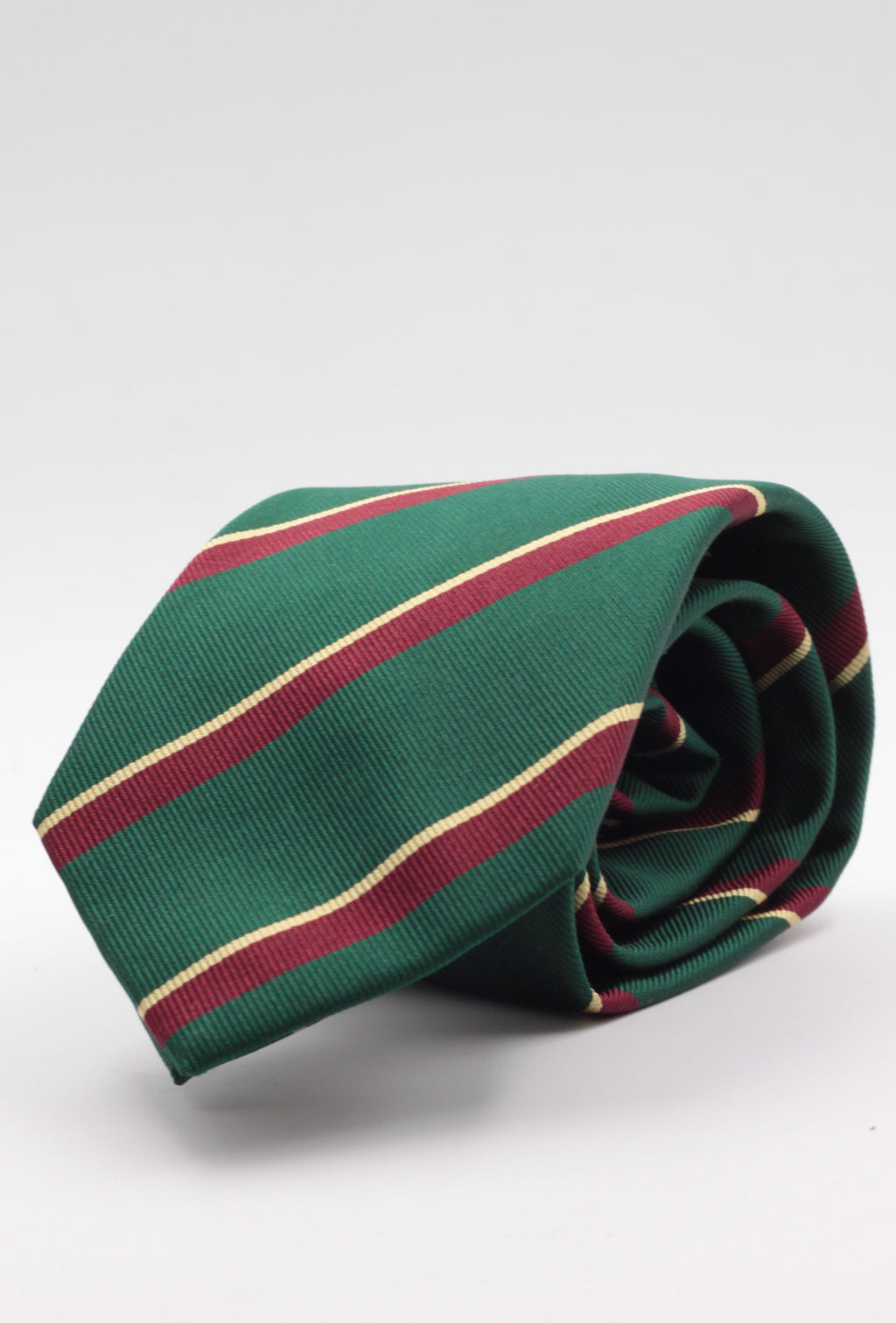 "Holliday & Brown for Cruciani & Bella 100% Silk Jacquard  Regimental "" Royal Marine Light Infantry"" Green, Yellow and Burgundy stripe tie Handmade in Italy 8 cm x 150 cm"