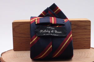 "Holliday & Brown for Cruciani & Bella 100% Silk Jacquard  Regimental ""Glasgow Yeomanry"" Blue navy, red and Yellow stripe tie Handmade in Italy 8 cm x 150 cm"