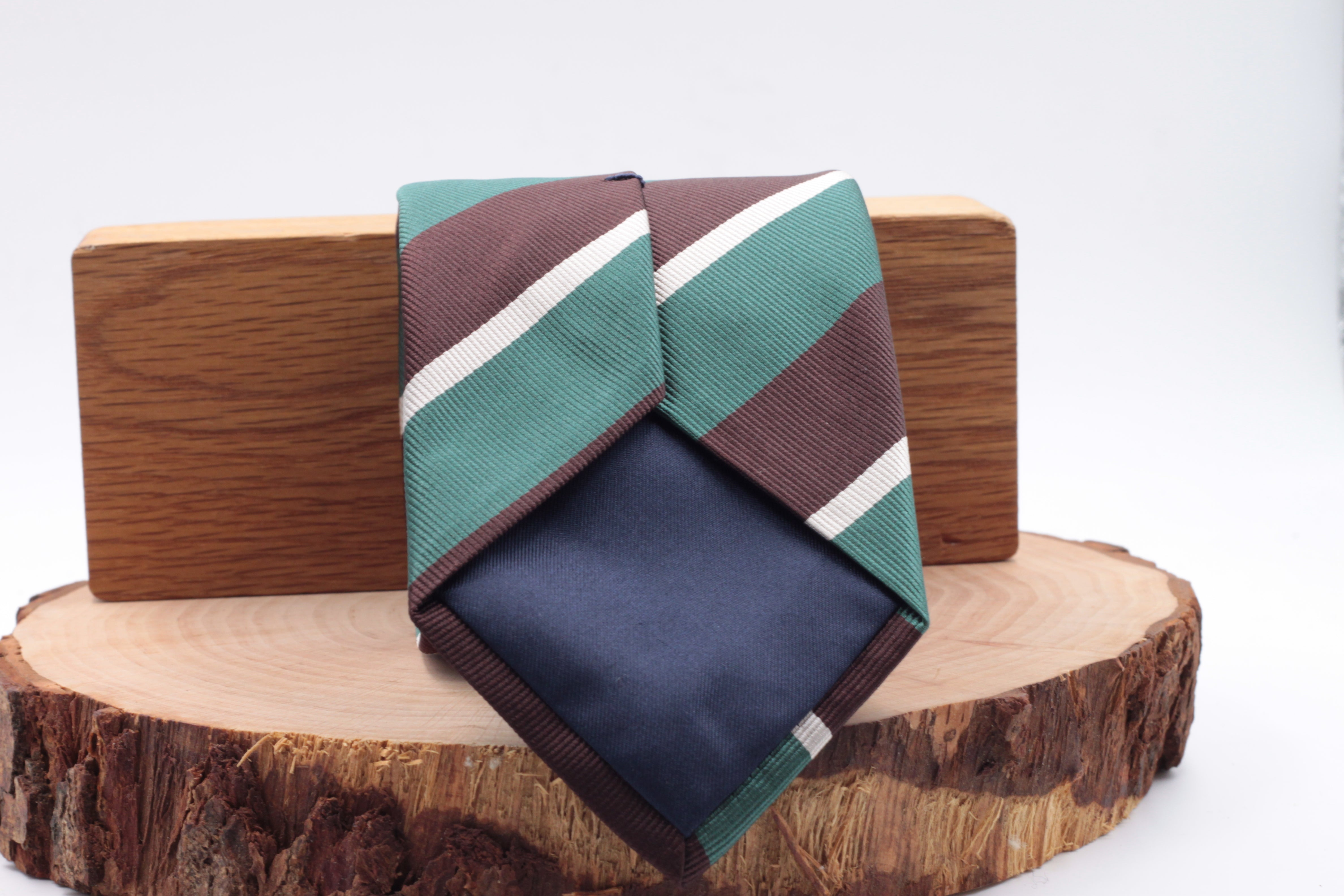 100% Silk Jacquard  Green, Brown and Ivory stripe tie Handmade in England 8 cm x 150 cm
