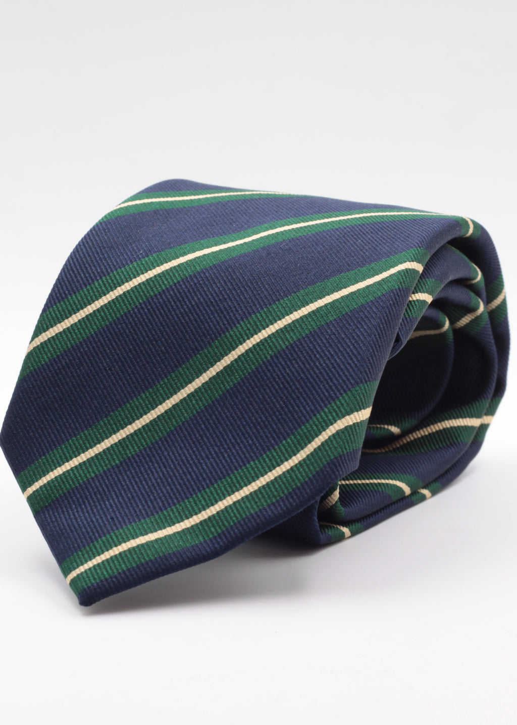 "Holliday & Brown for Cruciani & Bella 100% Silk Jacquard  Regimental ""5th Lancers"" Blu navy, Green and Ivory stripe tie Handmade in Italy 8 cm x 150 cm"