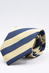 "Holliday & Brown for Cruciani & Bella 100% Silk Jacquard  Regimental ""4th The Queen's Own Hussars""  Yellow and Blue navy stripe tie Handmade in Italy 8 cm x 150 cm"