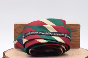 "Holliday & Brown for Cruciani & Bella 100% Silk Jacquard  Regimental ""5th Royal Inniskilling Dragoon Guards"" Red, Green and Beige stripe tie Handmade in Italy 8 cm x 150 cm"