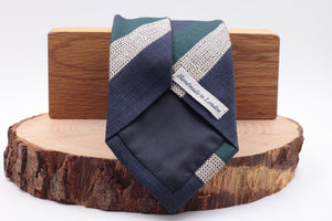 Drake's for Cruciani e Bella 100% Woven Jacquard Silk Navy blue, green and white stripe tie 36 oz Handmade in London, England 8 cm x 150 cm
