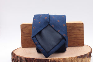 Holliday & Brown for Cruciani & Bella 100% Silk  Jacquard Self tipped Blue navy, brown motif tie Handmade in Italy 8 cm x 150 cm