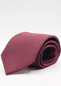 Holliday & Brown for Cruciani & Bella 100% Silk  Jacquard Self tipped Burgundy, light blue pin dots tie Handmade in Italy 8 cm x 150 cm